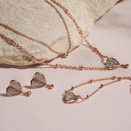 Fossil Něžný dvojitý náhrdelník se srdíčkem Vintage Glitz JF03648791