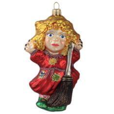 Decor By Glassor Čarodějnice s červenými šaty a koštětem