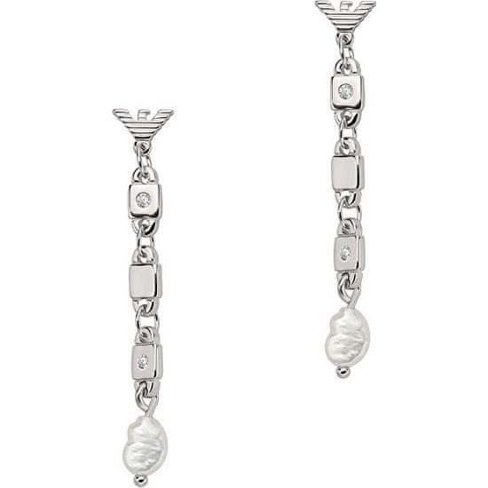Emporio Armani Stříbrné visací náušnice s perlami EG3473040
