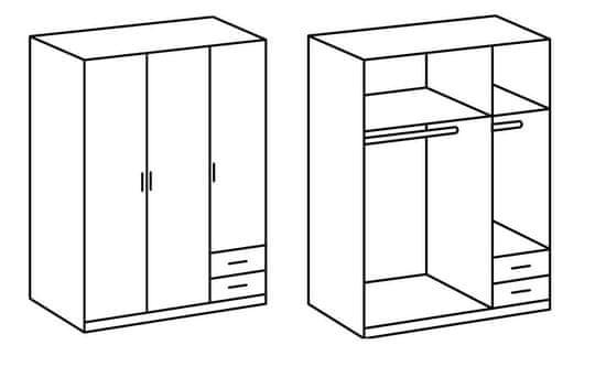 Garderobna omara 3D206 s predali, hrast