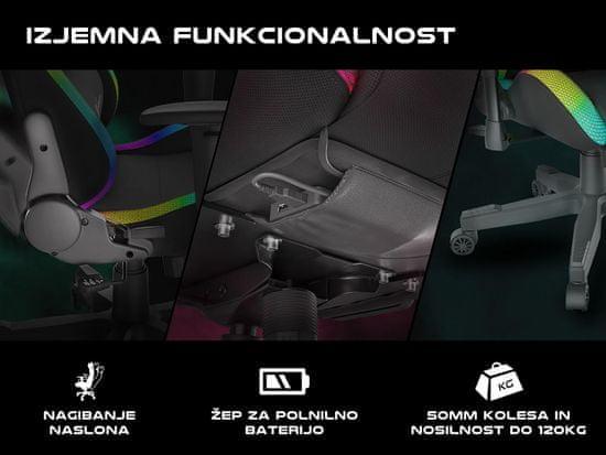 Genesis Trit 500 RGB stol, črn