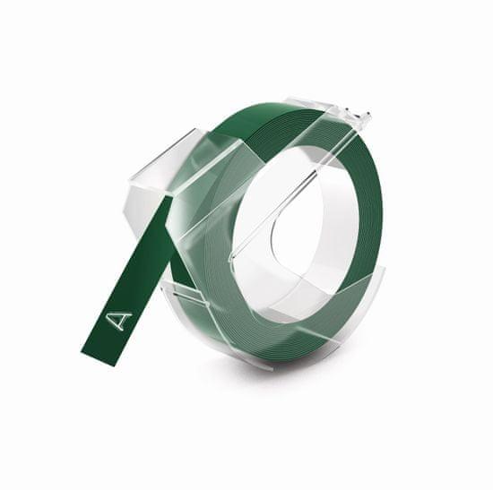 Dymo trak za mehanski tisk, 9 mm x 3 m, bela/zelena
