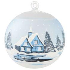 Decor By Glassor Modrý svícen s vesničkou set se stojánkem