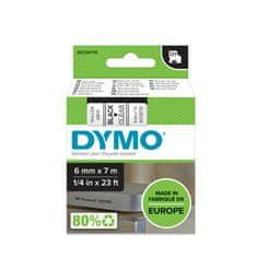 Dymo D1, 6mm/7m, trak za tiskanje nalepk, črn/prozoren (43610)
