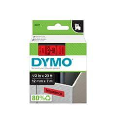 Dymo D1, 12mm/7m, trak za tiskanje nalepk, črno-rdeč (45017)
