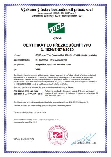 SpurTex® 10x Český nanorespirátor V100 FFP2 NR - SpurTex®