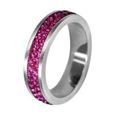 Tribal Ocelový prsten s krystaly RSSW02-FUCHSIA (Obvod 50 mm)