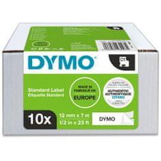Dymo D1 Value Pack trak za tiskanje nalepk, 10 kosov, 12 mm x 7 m, bel