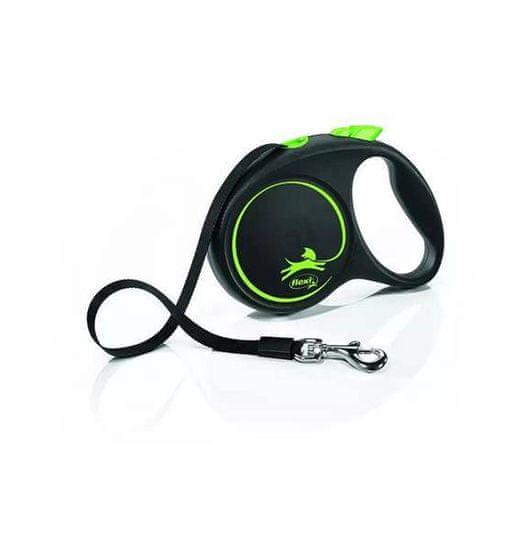 shumee FLEXI visszahúzható póráz Fekete Design M, 5 m-es szalag, zöld színű