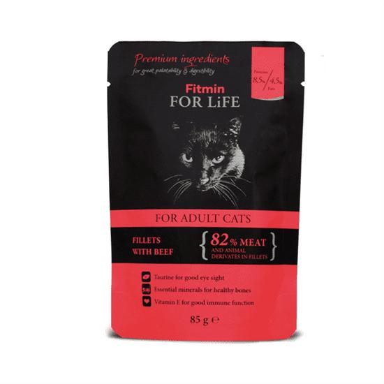 shumee Fitmin For Life felnőtt macskáknak Marhahús - nedves táplálék felnőtt macskáknak, marhahús 85 g