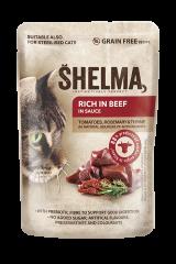 SHELMA karma dla kotów - duszone filety z wołowiny z pomidorami i ziołami, 28x85 g