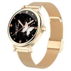 Printwell Chytré hodinky v češtině, dámské, elegantní smart watch s krokoměrem, oxymetrem, měřením tepu, tlaku, Bluetooth 5.0, PW-105, zlaté