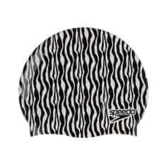 Speedo Slogan Print plavalna kapa, črno-bela