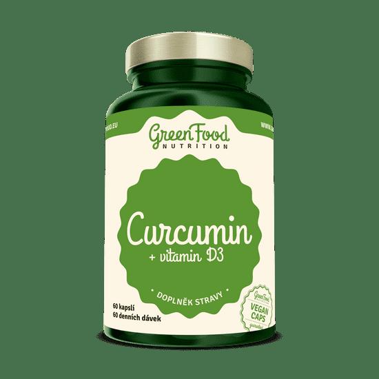 GreenFood Curcumin + vitamín D3 60 kapslí