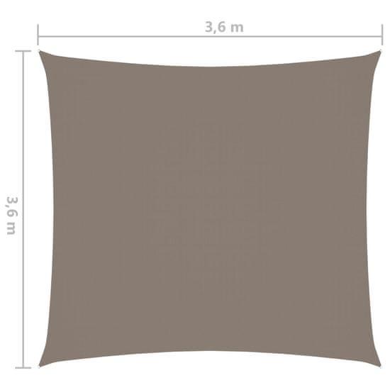 shumee tópszínű négyzet alakú oxford-szövet napvitorla 3,6 x 3,6 m