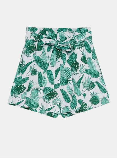 Moodo bílo-zelené dámské vzorované kraťasy se zavazováním