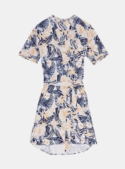 Moodo modro-krémové vzorované šaty se zavazováním