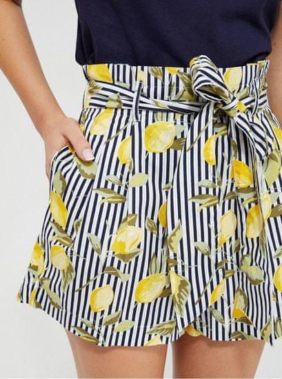 Moodo žluto-modré dámské pruhované kraťasy se zavazováním