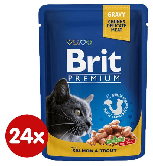 Brit Premium mokra hrana za mačke, losos in postrv, 100 g, 24 kos