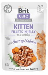 Brit Care Cat Kitten Fillets in Jelly with Savory Salmon 24x85 g