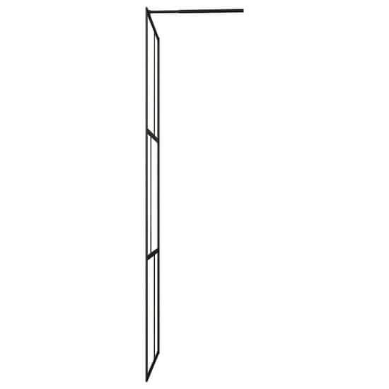shumee Sprchová zástena s tvrdeným sklom čierna 90x195 cm