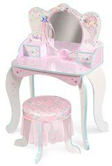 DeCuevas 55541 Dřevěný toaletní stolek se zrcadlem, dřevěnou židličkou a doplňky Ocean Fantasy