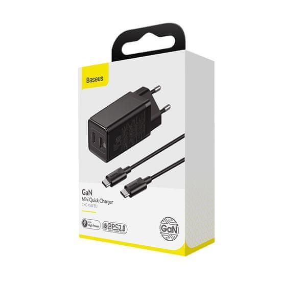 BASEUS adapter szybkiego ładowania GaN2 EU USB-A + 2× USB-C 65W CCGAN-M01, czarny