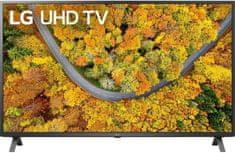 LG 55UP75003LF Smart LED TV, 139 cm, 4K Ultra HD, HDR, webOS ThinQ AI, Sötétszürke