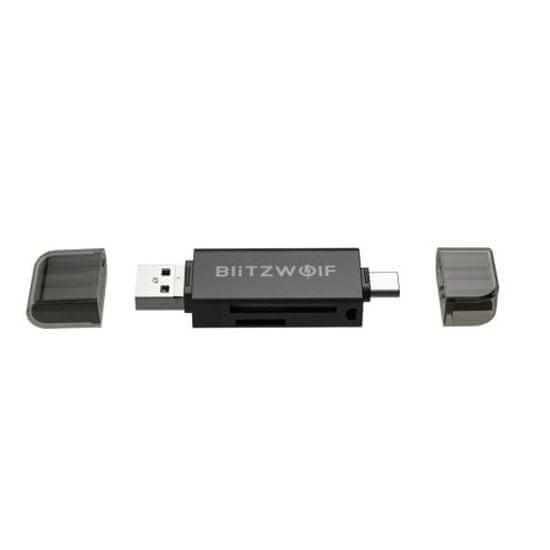 Blitzwolf BW-CR1 čitalec kartic SD USB-C / USB-A, črna