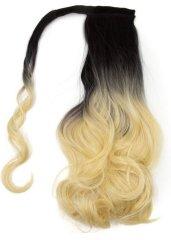Vipbejba Sintetični čop na trak/pramen, skodran, ombre črne-platinum blond S11