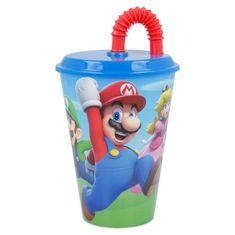 Stor Plastový pohár s víkem a brčkem SUPER MARIO 430ml, 21430