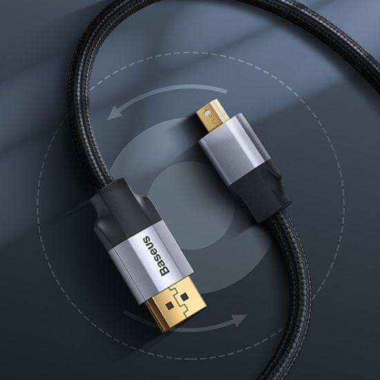 BASEUS Enjoyment Series kábel MiniDP hím - DP hím, kétirányú átvitelhez, 3 m CAKSX-P0G, szürke