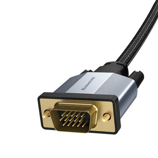 BASEUS Enjoyment Series kábel VGA hím, VGA hím, kétirányú átvitelhez 2 m CAKSX-U0G, szürke