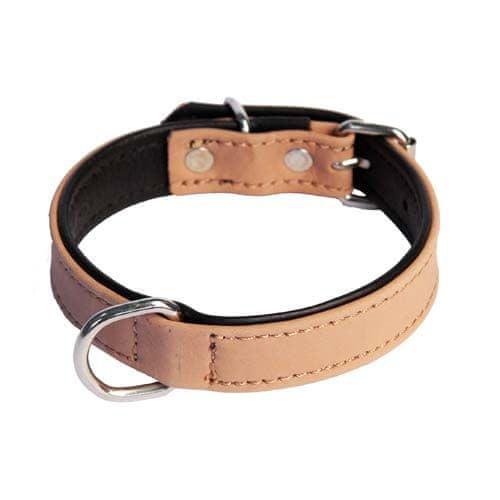 COBBYS PET Valódi csiszolt bőr nyakörv barna valódi fekete bőrrel alávarrva 50cm/20mm