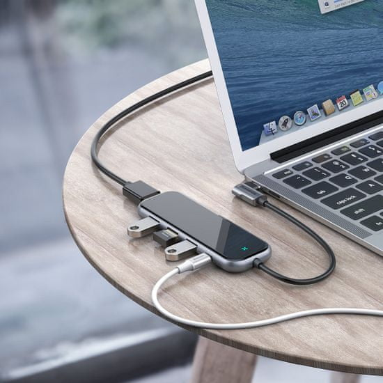 BASEUS Multifunkcionális HUB USB-C ((3× USB 3.0, 4KHDMI, USB-C PD) CAHUB-BZ0G, szürke