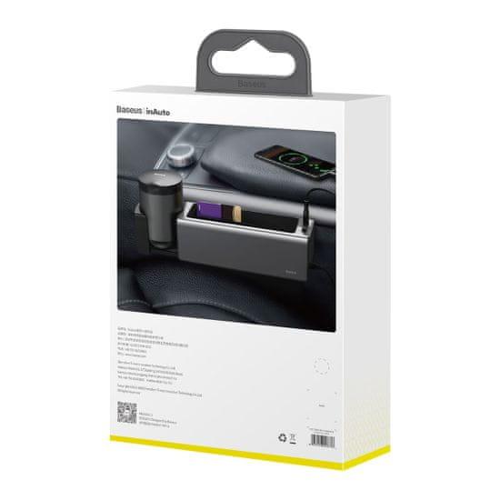 BASEUS Deluxe fém tartó és rendszerező autóba (2× USB 2.0) CRCWH-A01, fekete