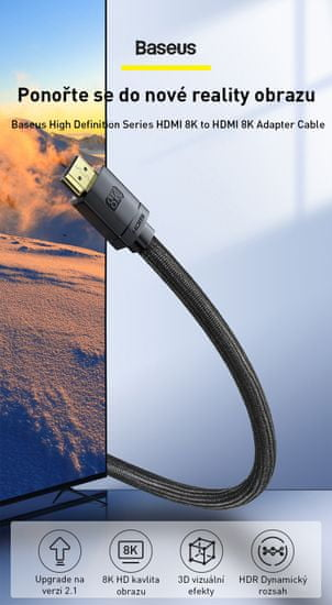 BASEUS HDMI 2,1 kábel 8K M/M 3 m CAKGQ-L01, fekete