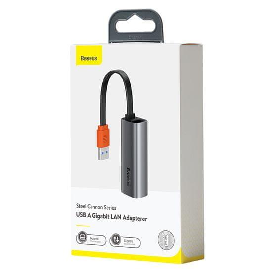 BASEUS adapter Steel Cannon Series USB i Type-C dwukierunkowy Gigabit LAN RJ45, szary