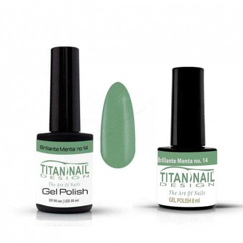 Titan Nail Design UV/LED lak za nohte (Gel Polish) - 8ml - Brillante Menta glitter (no. 14)