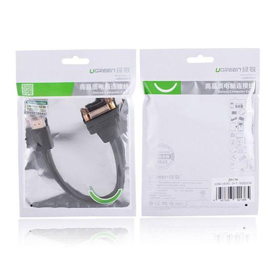 Ugreen adapter DVI 24+5 pin - HDMI F/M 22cm, črna