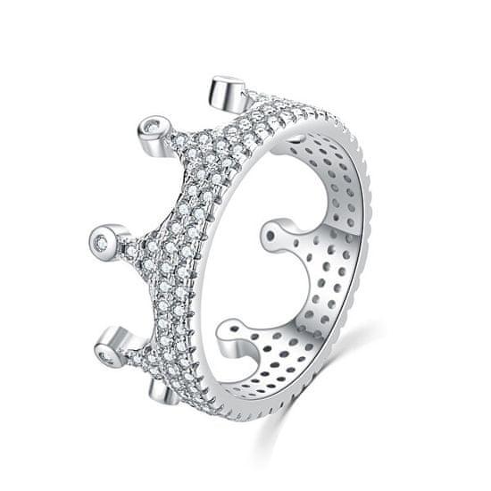 MOISS Luksuzni srebrni prstan s cirkoni Royal krona R00021 srebro 925/1000