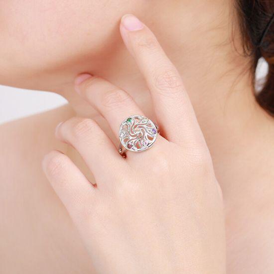 MOISS FiglarnySrebrny pierścionek z kolorowymi cyrkoniami R00021 srebro 925/1000