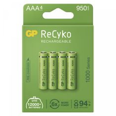 GP ReCyko polnilne baterije, 1000mAh, HR03, AAA, 4 kos