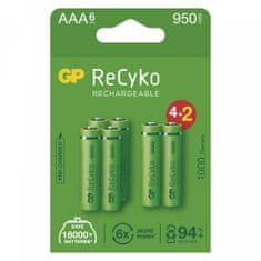 GP ReCyko polnilne baterije, 1000 mAh, HR03, AAA, 4 + 2 kos