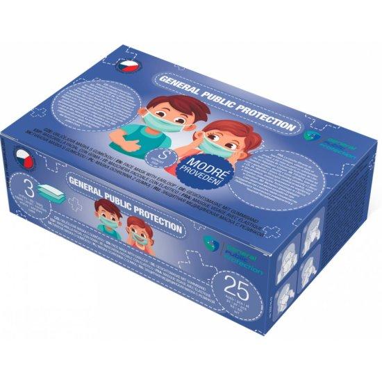 General Public s.r.o. 25x General Public Protection třívrstvá jednorázová dětská rouška S modrá