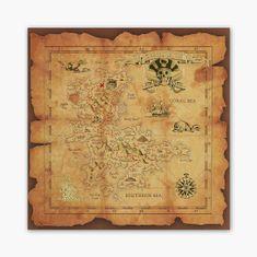 PixadoArt Pirátská mapa 3D Zlatý Plakát
