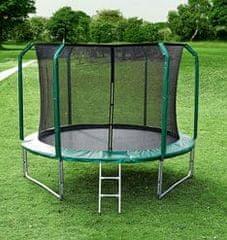 Legoni Aero trampolin, z zaščitno mrežo, 425 cm, zelen