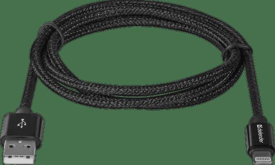 Defender Kabel ACH01-03T PRO USB2.0 Črni, AM-LightningM, 1m, 2.1A