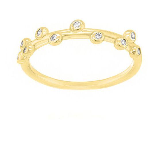 Brilio Silver Okouzlující pozlacený prsten se zirkony GR107Y stříbro 925/1000