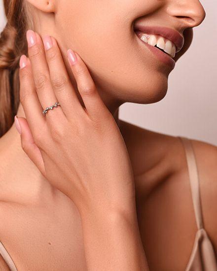 Brilio Silver Okouzlující bronzový prsten se zirkony GR107R stříbro 925/1000